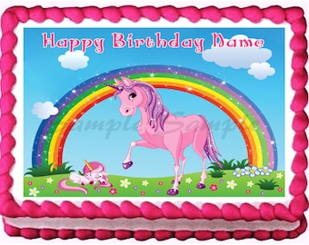 PINK UNICORN edible cake topper image