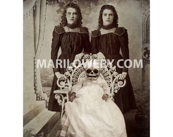 Creepy Halloween Wall Art, Gothic Victorian Twins with Skull Baby Mixed Media Collage 8.5 x 11 inch Print, frighten
