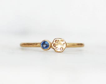 Ready to Ship in Size 6.25 - Skinny Sapphire Poppy Ring - 1.3mm Ceylon Blue Sapphire Gold Stacking Ring - Eco-Friendly Recycled