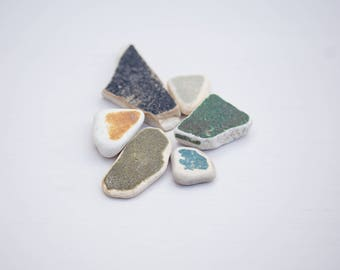 COLOUR BLOCK SEAPOTTERY, genuine english sea pottery, ocean porcelain, broken china pieces, colourful, mustard yellow, green, mosaic tiles,