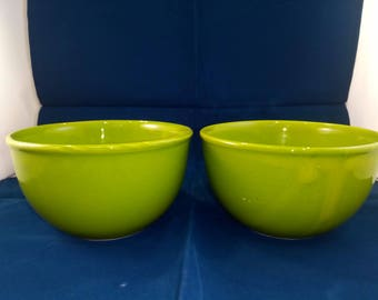 Set of two pottery ceramic green bowls