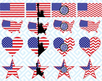 American Flag  Monogram, Digital Cutting Files, Svg Files for Silhouette, Cricut, American Flag  SVG, 32luna