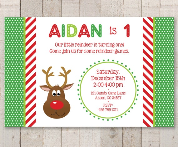 Reindeer 1st birthday invitations holiday winter birthday like this item filmwisefo Image collections