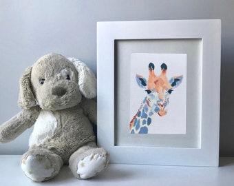 "Original giraffe painting, nursery art, 5""x7"" acrylic on canvas board, colorful, gender neutral"