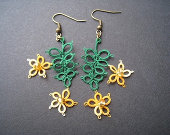 Earrings, tatting, tropical flowers