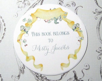 Banner & Ivy Round Personalized Bookplate - Set of 24 - Adhesive - Peal and stick - Trending - This book belongs to - Book Plate - Stickers