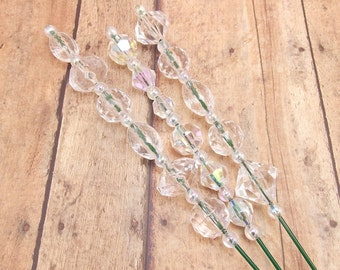 Beaded Plant Sticks - Stakes - Picks - Set of 3 - Crystal Clear - Aurora Borealis - Silver - Home Decor