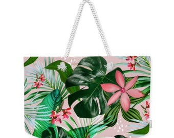 Tropical Print beach bag, Mothers day, weekender tote bag, monstera leaf, swaying palm print flowers generous beach bag gift idea large tote