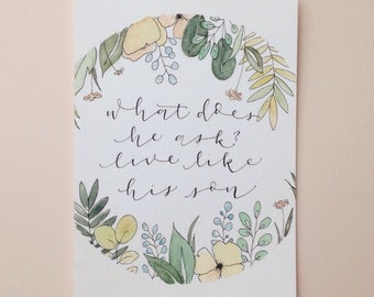 Custom Lettering with Watercolor Watercolor Border | Yellow Flowers | 5x7
