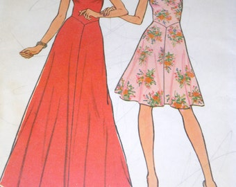 Simplicity 6882 Dress pattern in two lengths. size 10 Uncut 1975