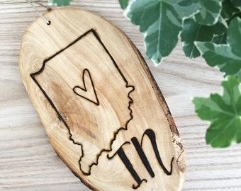"Wood burned ""Indiana"" wall hanging"