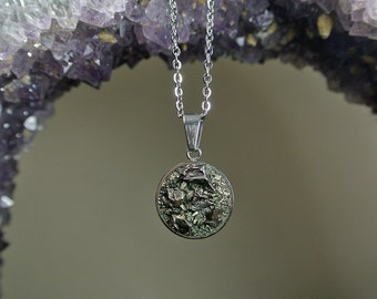Meteorite Pendant - Pyrite Jewelry - Campo del Cielo - The Cosmos 2.0 - Crushed Pyrite - Galaxy Jewelry