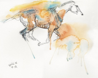 Original Fine Art, Galloping Horse Watercolor Painting, Equine Art, Contemporary Art, Modern Art