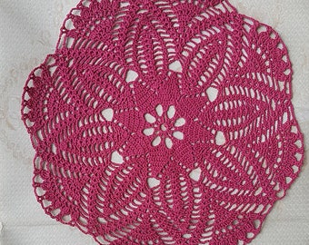 Crochet Doily Round Houseware Home Decor Purple centerpiece Table decor