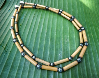 Kauai Bamboo Jewelry - Hawaiian Bamboo and Hematite Necklace