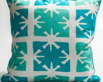Designer's decorative pillow cover, Quadrille fabric, Throw pillow cover, aqua and turquoise cover