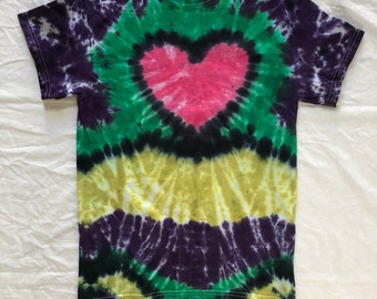 Size S heart shaped tie dye shirt front and back