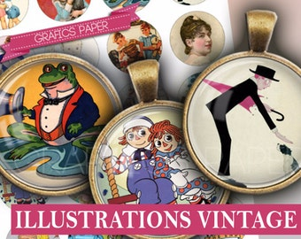 "Illustrations Printable vintage - digital collage sheet 25mm circles, 1 inch, 1.5"", 1.25"", 30mm Images Circle Download scrapbooking - td264"
