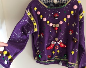 CAT LOVERS Crazy Cat Lady Ugly Tacky Christmas Sweater
