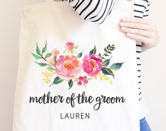 Mother Of The Groom, Personalized Canvas Tote Bag, Wedding Party Gift Bags