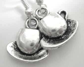 Tea Cup Silver Charm Earrings 203