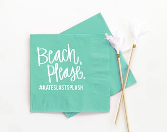 Beach Bachelorette Party Napkins Beach Please Decorations Personalized Cocktail Napkins Bachelorette Party Ideas Custom Beverage Napkins