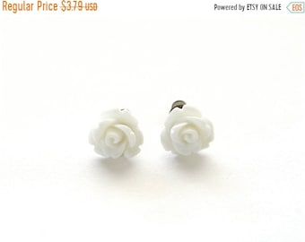 20%OFF SALE Tiny Pure White Rose Earrings, White Wedding Earrings, Stud Earrings, Post Earrings Under 5