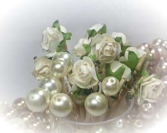 30 Rose & Pearl Shabby Chic Toothpick Skewer Pick Wedding Dinner Cocktail Hors d'oeuvre Appetizer Beach Birthday Tea Party Candy Bar Shower