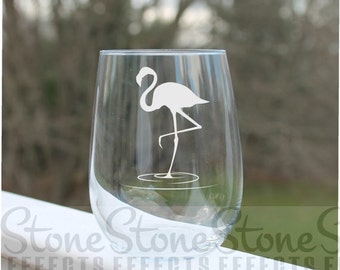Flamingo, Etched Stemless Wine Glass, Wine Glass Etched - 17oz,  Engraved Wine Glasses, stemless wine glass etched, personalized