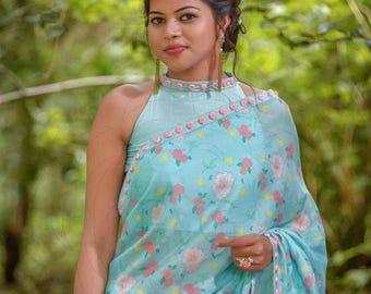 Mermaid's Dream Pure Silk-Chiffon Printed Saree with Raw-Silk Ribbon Embroidered Blouse
