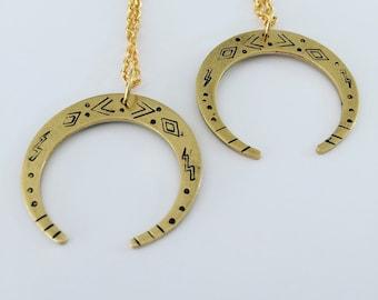 Venus Raw Brass Crescent Moon Necklace - Tribal - Folk Art - Boho - Festival - Gold - Mystical -