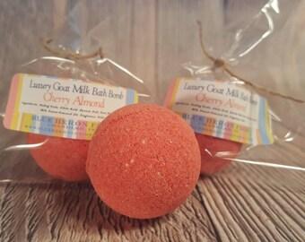 Cherry Almond Small Bath Bomb, Red Bath Bomb, Bath Bom, Goat Milk Bath