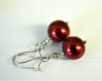 Red Earrings made with Deep red Glass Pearls and Stainless Steel Earwire . Perfect for Valentine's Day . Handmade in Maine