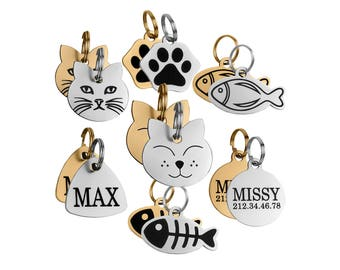 Cat Tag, Cat ID Tag, Personalized Cat Tag, Kitten Tag, Engraved Cat Tag, Cat Name Tag