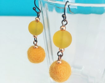 Newport Felt Earrings in Pineapple, Yellow Statement Earrings, Felt Balls, Recycled Glass, Unique Jewelry Gift, Gift for Her, Bright Fashion