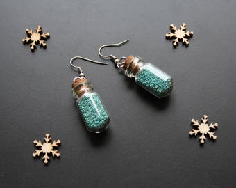 Glass flask, sandblasted turquoise earring