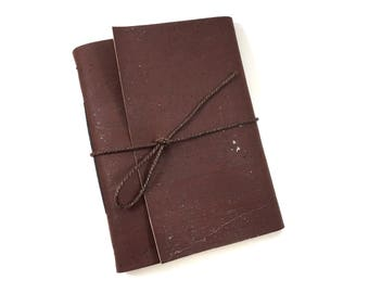 Vegan Leather Hand-bound Journal - Natural Brown Cork Leather - Eco-friendly - Travel Journal - Notebook - Sketchbook