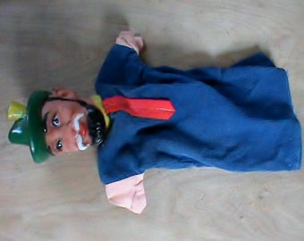 Vintage old Punch and Judy toy hand puppet. Early retro tv shows.