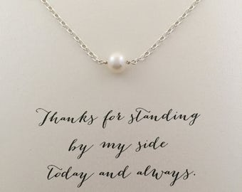 Silver Pearl Bridesmaid Necklace, Bridesmaid Jewelry, Bridesmaid Gift Ideas, Silver Pearl Necklace, Floating Pearl Necklace, Gifts, SGC1