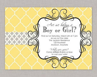 Gender Reveal Invitation, Yellow and Gray Gender Reveal Invitation, Gender Reveal Party Invitation, Gender Reveal, Boy or Girl Invitation