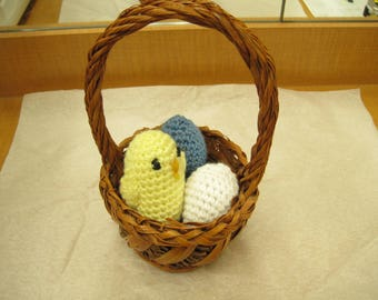 Basket of Amigarumi Eggs and Chick