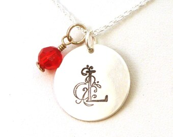 Sterling Silver Initial Necklace with Birthstone - Floral Large Initial Necklace - Gift for Girlfriend - Storybook Floral Font