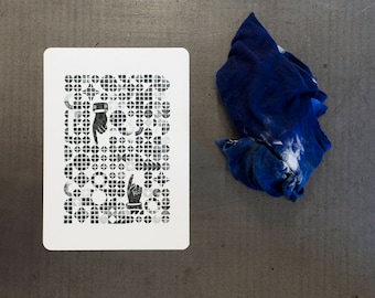 Card letterpress wood and lead letterpress tiles •