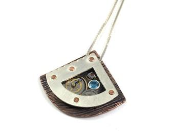 Steampunk Pendant, Steampunk Necklace, Swiss blue topaz Pendant, Mixed Metal Pendant, Mixed Metal Necklace, Gear Pendant, Riveted Necklace