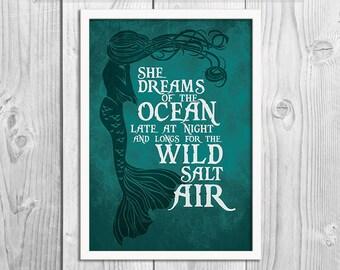 Mermaid - She Dreams of the Ocean Print -  Mermaid Art Print Poster - Wall Decor, Inspirational Print, Home Decor, Gift,