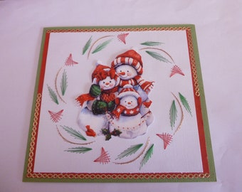 """201854 embroidered """"family of snowmen"""" Christmas card"""