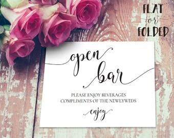 Open Bar Sign, Open Bar Wedding Sign, Open Bar Table Sign, Wedding Open Bar Sign, Bar Wedding Sign Printable INSTANT DOWNLOAD
