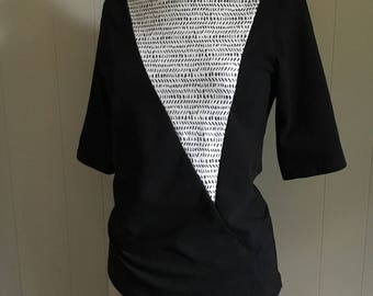 Triangle Top, Women's Top, Cotton Jersey with Dash Print, Mid sleeves, Modern style- made to order