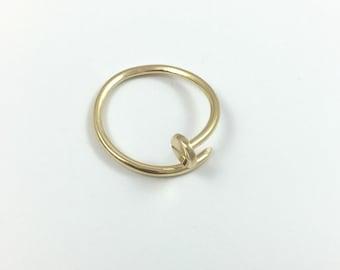14k gold nail ring