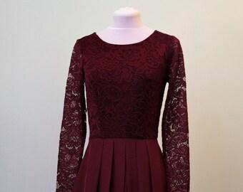 Long burgundy lace dress for bridesmaids Burgundy bridesmaid dress Long bridesmaid dress Long prom dress Burgundy dress women